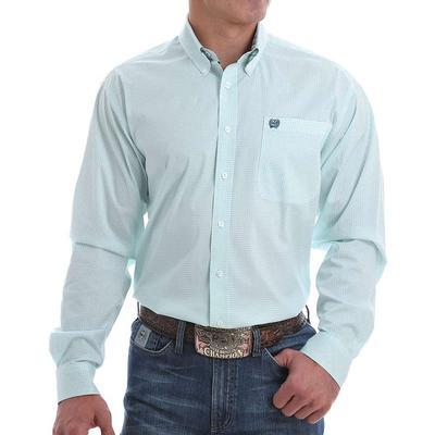 Cinch Men's Mini Dotted Light Blue Button Down Shirt
