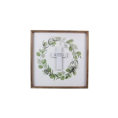 Wood Framed Wreath With 3D Cross Accent
