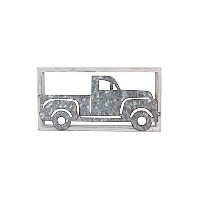Wooden Framed Tin Truck Wall Art
