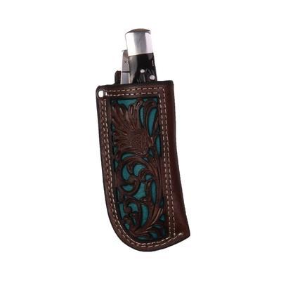 Turquoise & Dark Leather Tooled Knife Sheath
