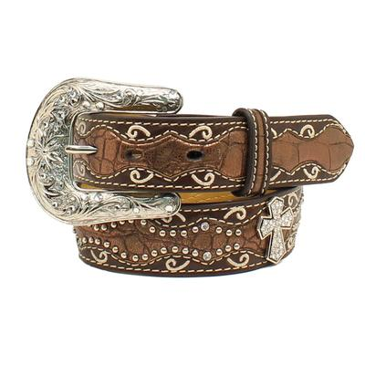 Ariat Girl's Jeweled Cross Crocodile Belt