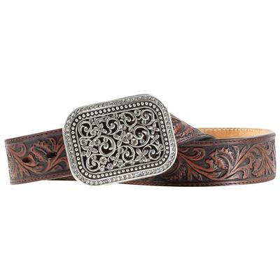 Ariat Ladies Embossed Belt With Rhinestone Buckle