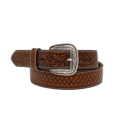 Ariat Men's Basket Weave & Floral Tooled Belt