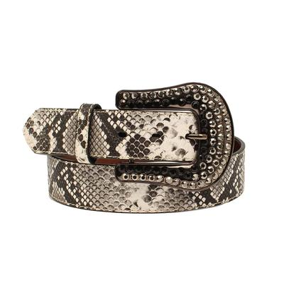 1 1/2 Inch Black & White Snakeskin Belt