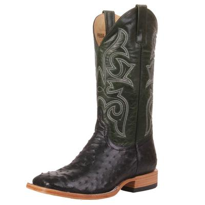 Horse Power Men's Black Full Quill Ostrich Boots