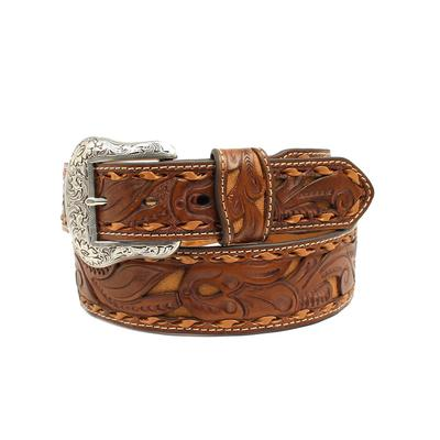 Men's Floral Tooled Belt With Tan Inlay