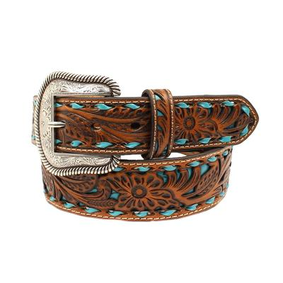 Men's Tappered Turquoise Laced Underlay Belt