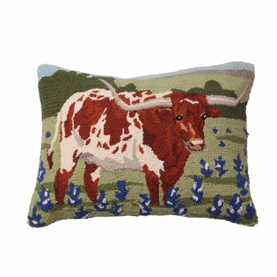 Longhorn in Bluebonnets Pillow