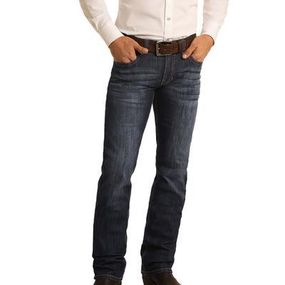 Rock & Roll Men's Dark Wash Revolver Slim Fit Jeans