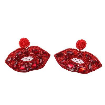 Beaded Red Lip Earrings