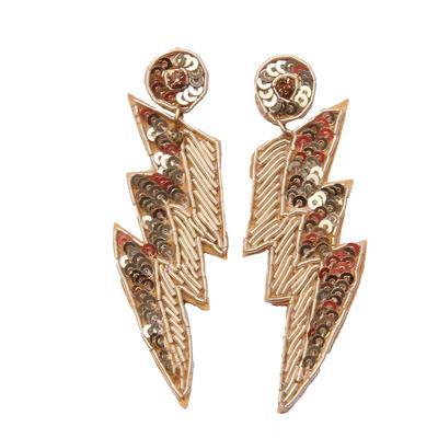 Beaded Lighting Bolt Earrings
