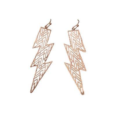 Cutout Metal Lightning Bolt Earrings