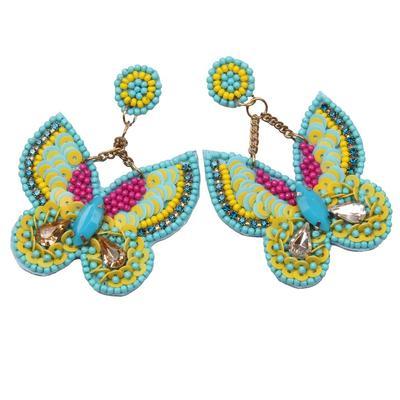 Beaded Butterfly Earrings AQ