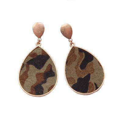 Camo Teardrop Earrings
