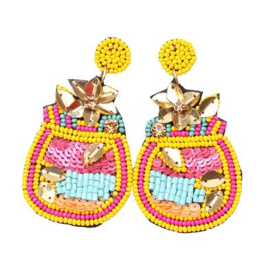 Beaded Mosaic Earrings YEL
