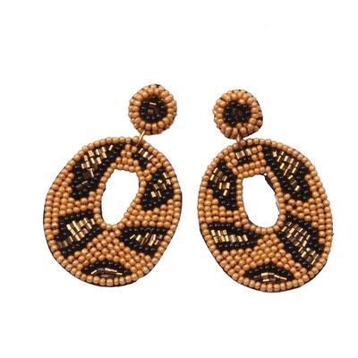 Beaded Leopard Circle Earrings