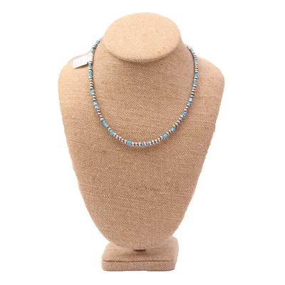 Sterling Silver 16 Inch 4mm Blue Turquoise Necklace