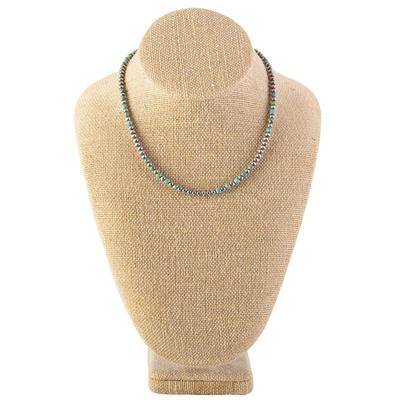 Sterling Silver 16 Inch 4mm Green Turquoise Necklace