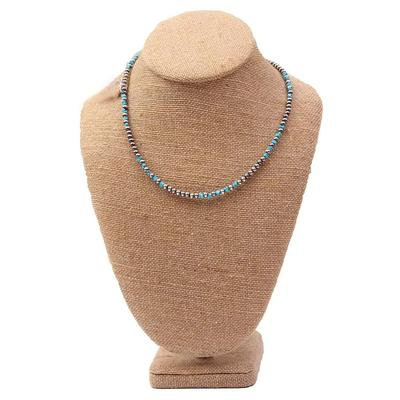 Sterling Silver 18 Inch 4mm Blue Turquoise Necklace