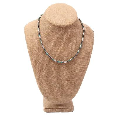 Sterling Silver 18 Inch 4mm Green Turquoise Necklace