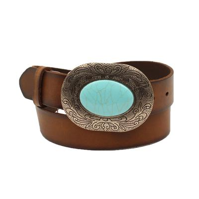 Women's 1.5 inch Brown Belt With Turquoise Stone Buckle