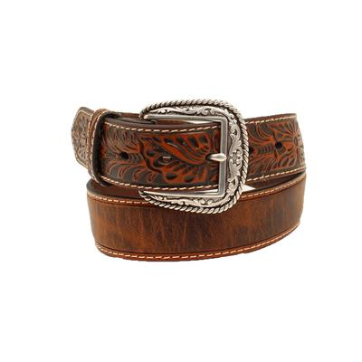 Ariat Men's Floral Embossed Brown Belt