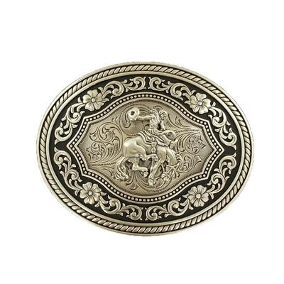 Floral Tooled Bucking Bronc Buckle