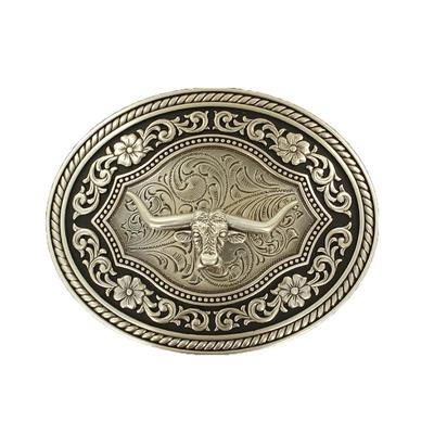 Antique Tooled Longhorn Belt Buckle