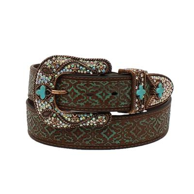 Ladies Turquoise & Brown Lace Leather Belt