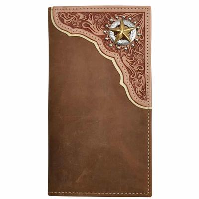 3D Tan Distressed Floral Tooled Rodeo Wallet