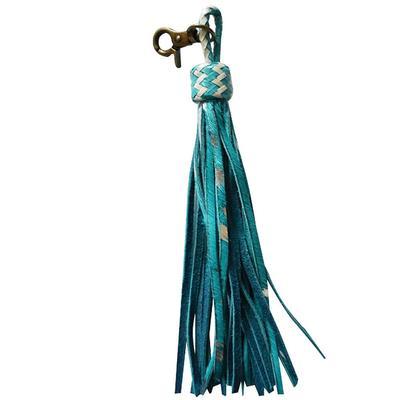 American Darling Blue Acid Cowhide Tassel Keychain
