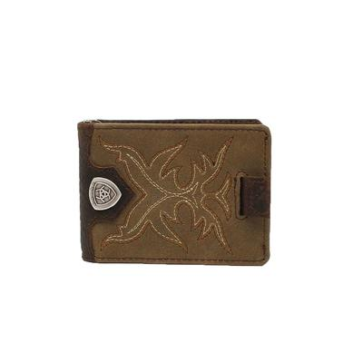 Ariat Men's Clip Bootstitch Light Brown Bifold Wallet