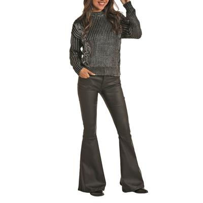 Rock&Roll Women's Cable Knit Metallic Sweater