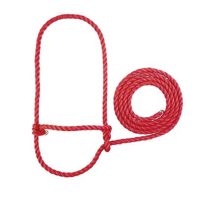Cow Poly Rope Halter RED