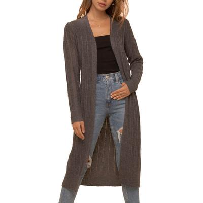 Women's Textured Ribbed Charcoal Cardigan