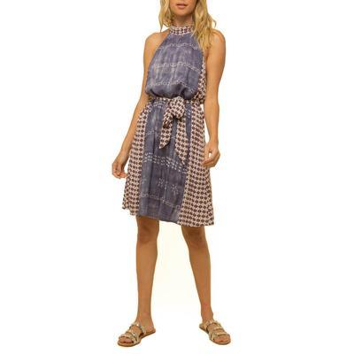 Women's Dusty Grey Front Tie Boho Dress