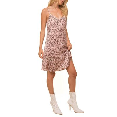 Women's Blush Satin Leopard Dress