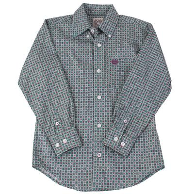 Cinch Boy's Long Sleeve Printed Button Down
