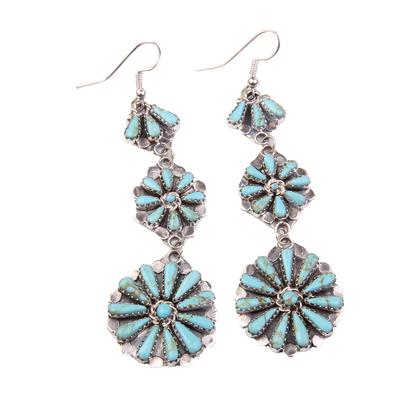 Three Tier Petite Turquoise & Sterling Silver Earrings