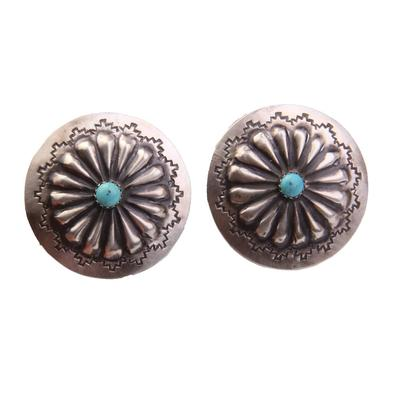 Hand Crafted Sterling Silver Circle Floral Earrings