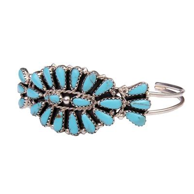 Petite Pointed Two Band Turquoise Cuff