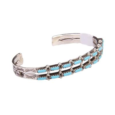 Two Strand Petite Turquoise Etched Cuff