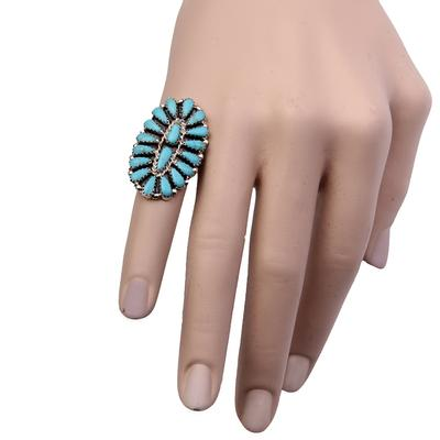 Petite Point Turquoise Oval Ring