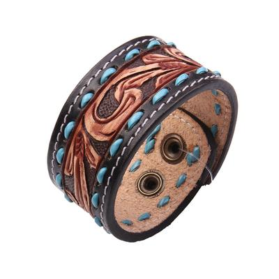 American Darling Leather & Turquoise Tooled Bracelet