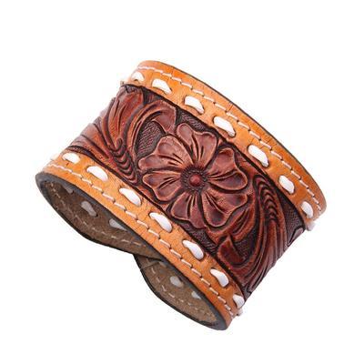 American Darling Natural Toned Floral Tooled Bracelet