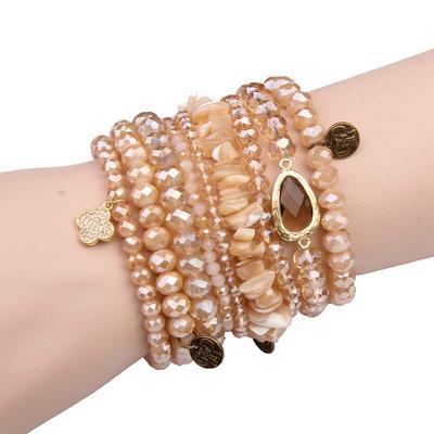 Pink Panache Natural Beaded Bracelet Set