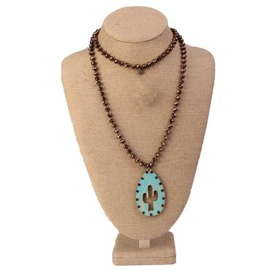 Pink Panache Beaded Cactus Cutout Necklace