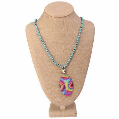 Pink Panache Tie Dye Pendant Beaded Necklace