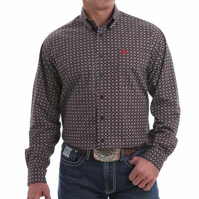 Cinch Men's Black & Red Mini Geometric Button Down Shirt