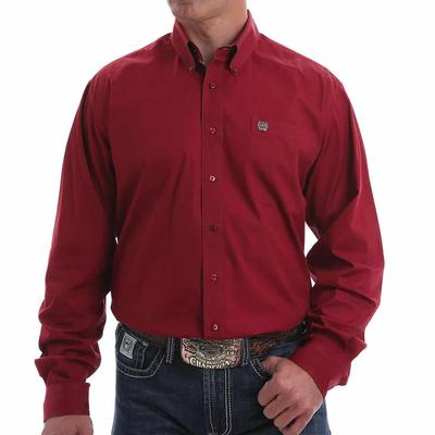Cinch Men's Ruby Red Square Button Down Shirt